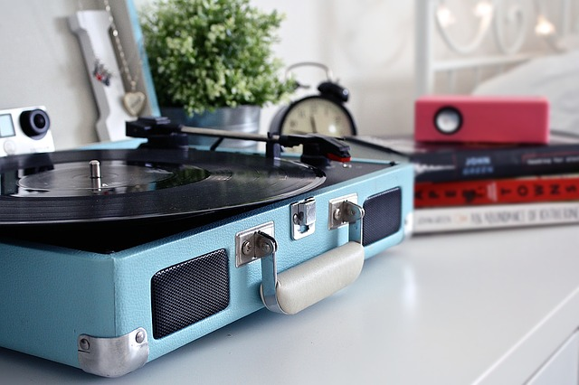 Blue Record Player On Desk