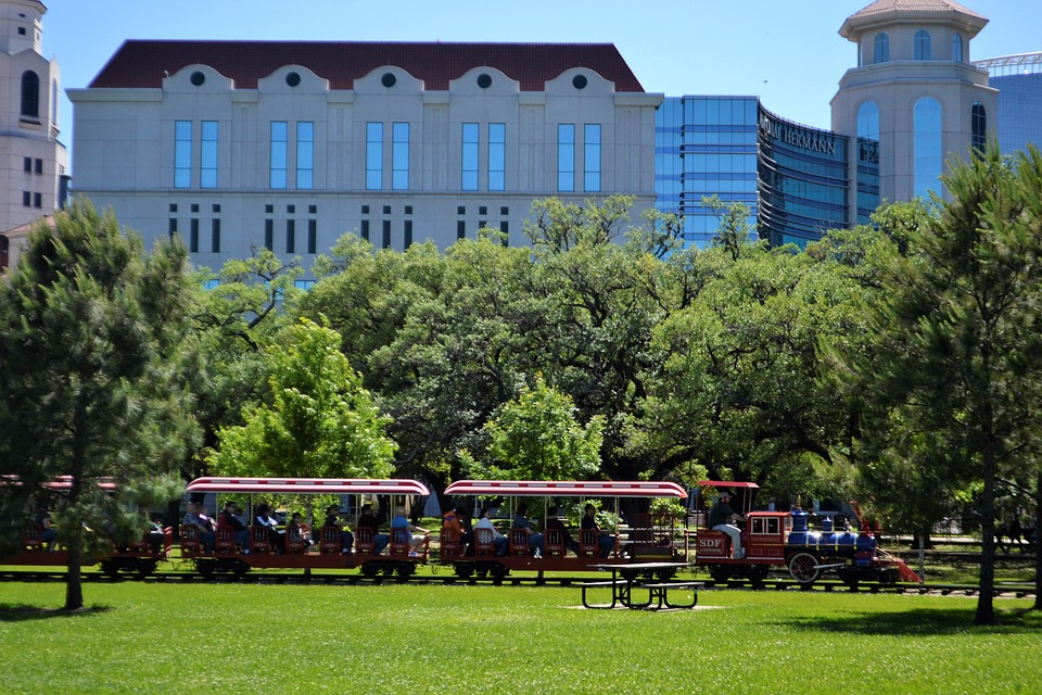 A train going through the Memorial Park in Houston.