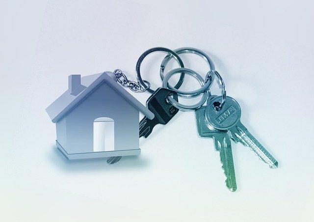 Keys with a keychain.