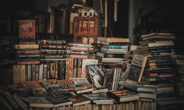 A bundle of books.