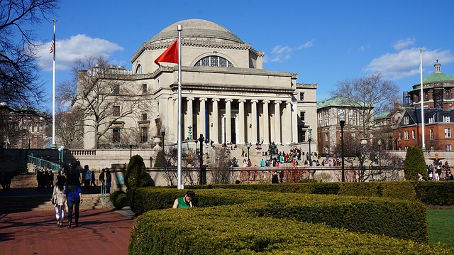 Columbia university, with students walking around and wondering about dorms vs co-living.