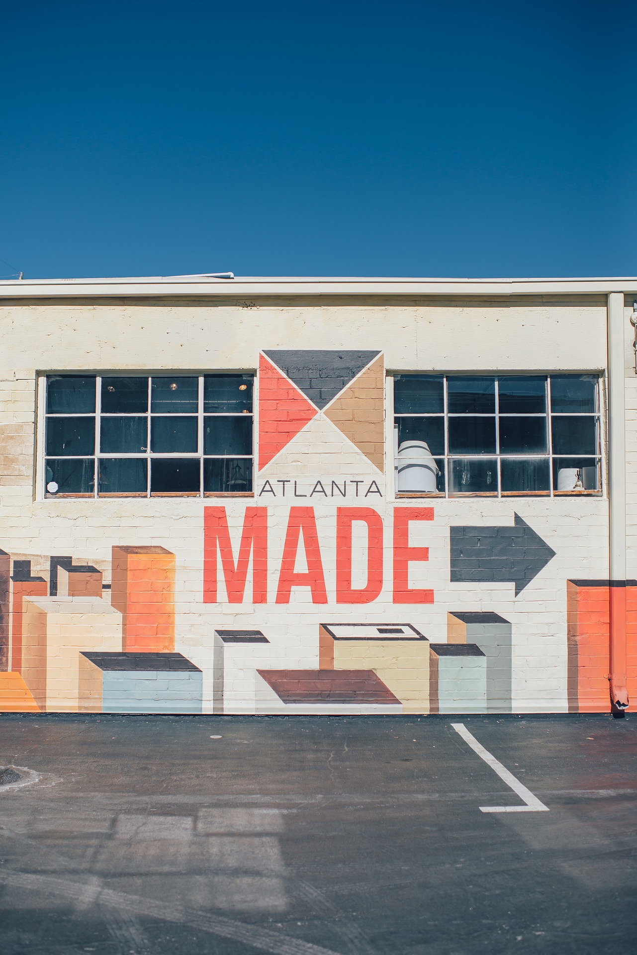 A mural with the words Atlanta made.