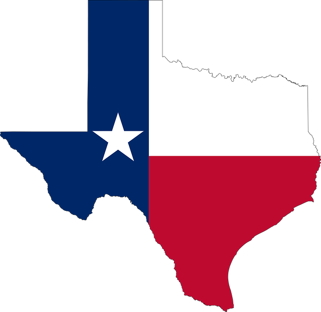 Texas map and flag.