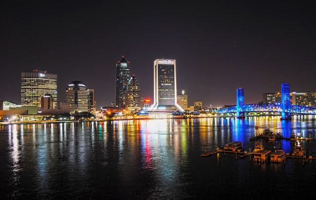 Jacksonville Florida Night Evening Buildings - Best Florida cities for renters