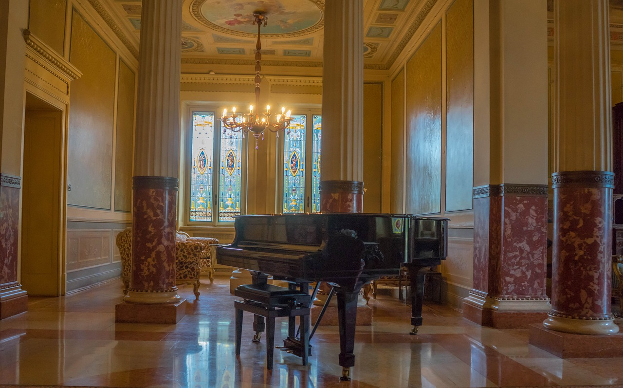 A music hall as a place where you can fit a piano with ease.