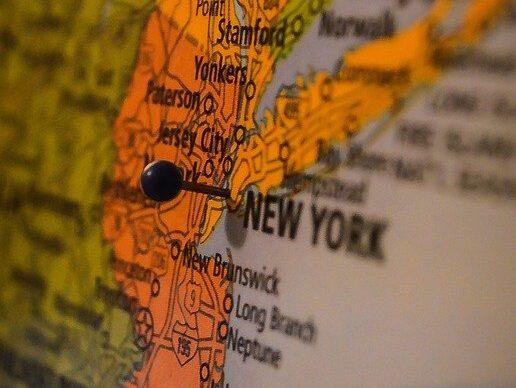 U.S. East Coast map, showing the proximity between NJ and NY.