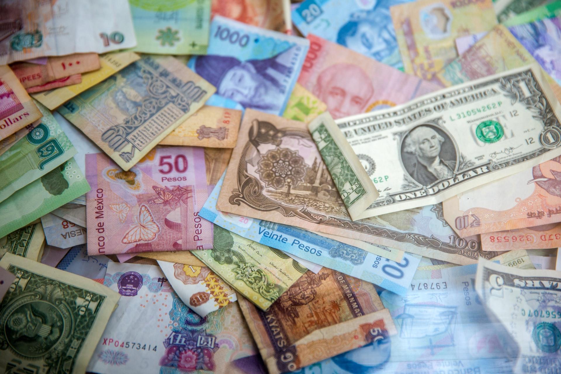 A pile of international money.