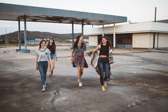 Girls outside.